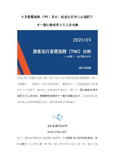 2021年9月旅客出行意愿指数(TWI)分析报告
